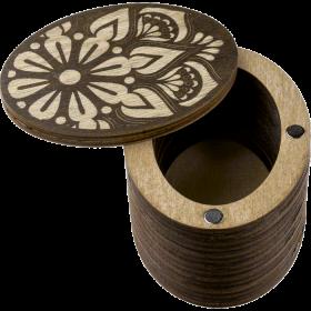 Шкатулка  для бисера крышкой Мандала круглая