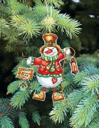 Набор для вышивки нитками Новогодняя игрушка Снеговик