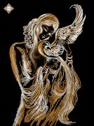 Схема для вышивки бисером на атласе Птица счастья
