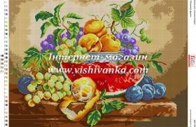 Схема для вышивки бисером на габардине Натюрморт фрукти