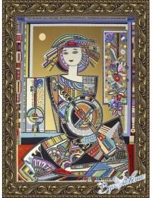 Схема для вышивки бисером на атласе Народные инструменты-4 (по картине Д. Беридзе)