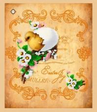 Схема вышивки бисером на габардине Салфетка Радость Пасхи Миледи СЮ-003
