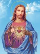 Схема для вышивки бисером на габардине Иисус
