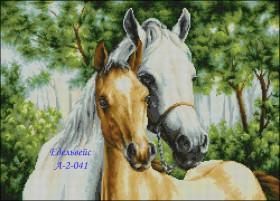Схема вышивки бисером на атласе Пара коней, , 125.00грн., А-2-41, Эдельвейс, Большие схемы вышивки бисером