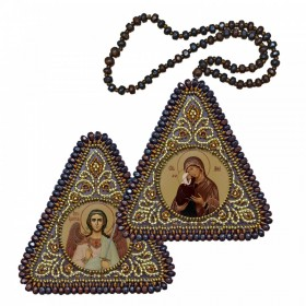 Набор для вышивания бисером двухсторонней иконы оберега Прав. Анна, мать Пресвятой Богородицы и Ангел Хранитель
