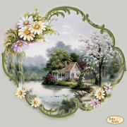 Схема вышивки бисером на атласе Домик в цветочной раме