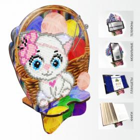 Подставка под телефон с алмазной мозаикой Кошечка рукодельница