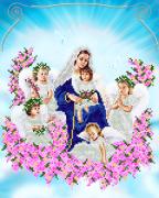 Схема для вышивки бисером Богородица с Ангелами