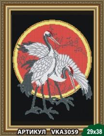 Рисунок на ткани для вышивки бисером Цапли на чёрном, , 105.00грн., VKA3059, Art Solo, Наборы и схемы для вышивки бисером и нитками Восток