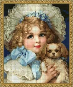Схема вышивки бисером на габардине Милый пёсик