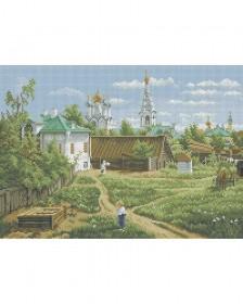 Схема для вышивки бисером на габардине Московский дворик