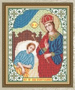 Схема для вышивки бисером на габардине Богородица Целительница