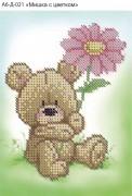 Схема для вышивки бисером на габардине Мишка с цветком