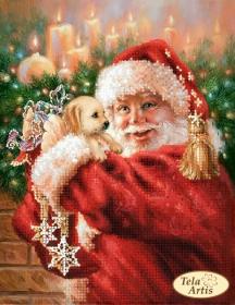 Схема вышивки бисером на атласе Пушистый подарок, , 55.00грн., ТМ-108, Tela Artis (Тэла Артис), Новый год