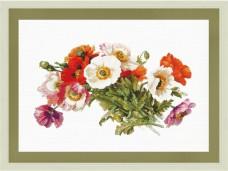 Набор для вышивки нитками на белой канве Букет маков Новая Слобода (Нова слобода) РЕ3340-У