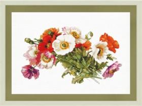 Набор для вышивки нитками на белой канве Букет маков Новая Слобода (Нова слобода) РЕ3340-У - 316.00грн.
