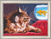 Схема для вышивки бисером на атласе Котенок и золотая рыбка