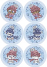 Схема для вышивки бисером на габардине Новогодние игрушки Зверята в шапках