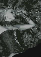Схема вышивки бисером на атласе Дама с маской Эдельвейс А-1-021 Атлас