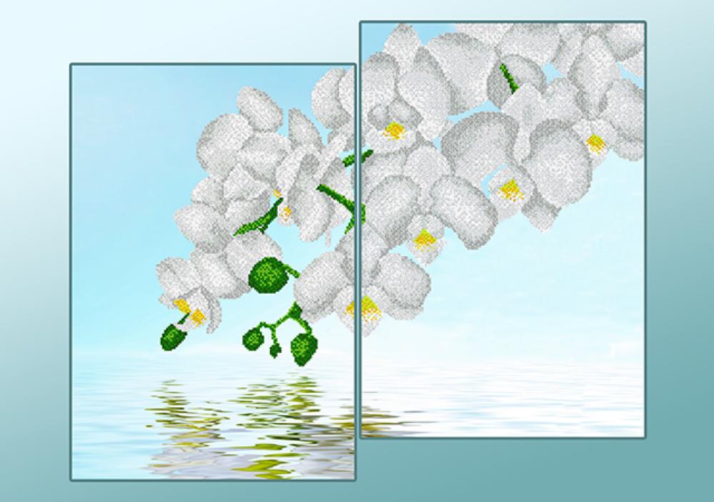 Белые орхидеи схема вышивки