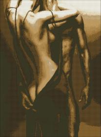 Схема для вышивки бисером на атласе Влюбленные в золоте