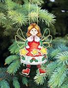 Набор для вышивки нитками Новогодняя игрушка Ангелочек