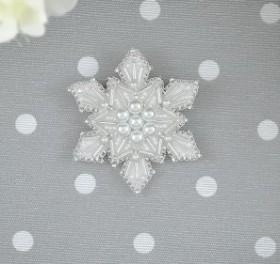 Набор для вышивки броши на велюре Снежинка