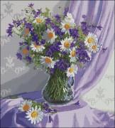Схема вышивки бисером на габардине Польові квіти