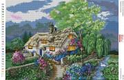 Схемы вышивки бисером на габарине Романтический домик