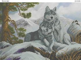Схема для вышивки бисером на габардине Волчья пара