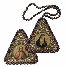 """Набор для вышивания бисером двухсторонней иконы оберега Богородица """"Умягчение злых сердец"""" и Ангел Хранитель"""