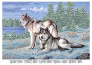 Схема вышивки бисером на атласе Волки