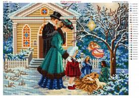 Схема для вышивания бисером на атласе Рождество в семейном кругу