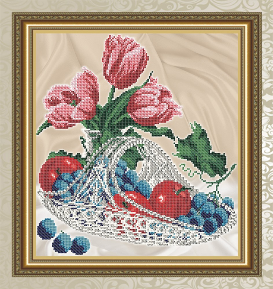 Яблоки виноград вышивка