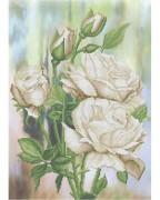 Схема вышивки бисером на габардине Белые розы