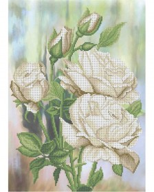 Схема вышивки бисером на габардине Белые розы Acorns А3-К-812 - 70.00грн.