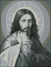 Схема вышивки бисером на габардине Иисус Эдельвейс АР-2-26