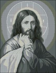 Схема вышивки бисером на атласе Иисус