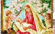 Схема вышивки бисером на габардине Мадонна з немовлям та ангелами