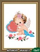 Рисунок на ткани для вышивки бисером Ангелочек с валентинкой