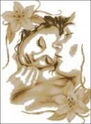 Схема вышивки бисером на габардине Закохані