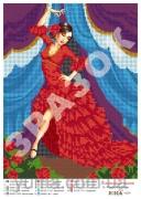 Схема вышивки бисером на атласе Испанский танок