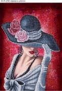Схема для вышивки бисером на габардине Дама в шляпе