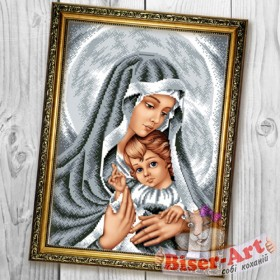 Схема вышивки бисером на габардине Мадонна з немовлям в срібних тонах Biser-Art 30х40-В601 - 66.00грн.