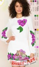 Заготовка женского платья на белом льне  Biser-Art Bis60115