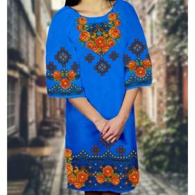Заготовка женского платья на синем габардине Biser-Art Bis6049 - 470.00грн.