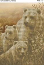 Схема для вышивки бисером на габардине Семейство медведей Acorns А4-К-218