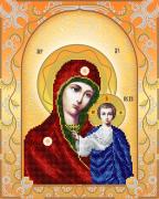 Схема для вышивки бисером на атласе Богородица Казанская (золото)