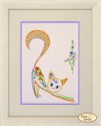 Набор для вышивки в смешанной технике Цветочный кот - 2