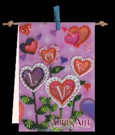 Набор-флажок для вышивки бисером на холсте Цветы любви